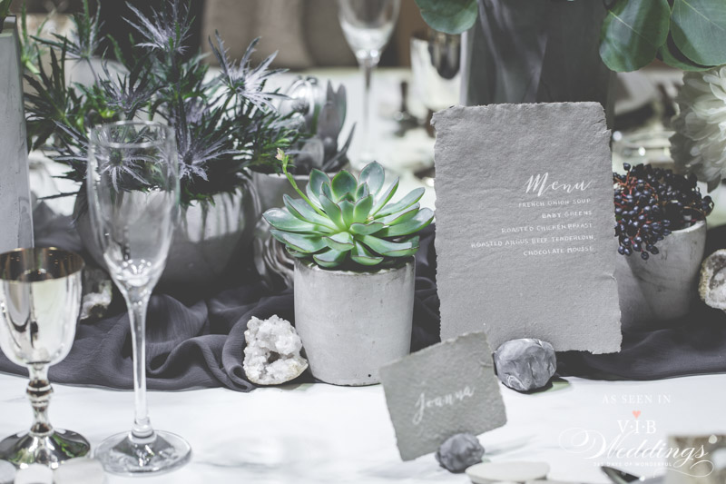 Concrete, Silver & Succulent Table accents