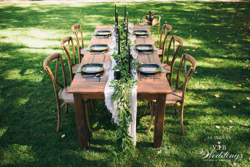 Furniture & dinnerware by C & T Event Rentals