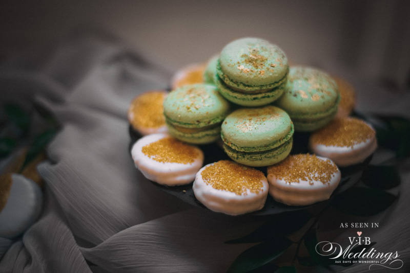 Green & Gold Macarons by High Tea Bakery