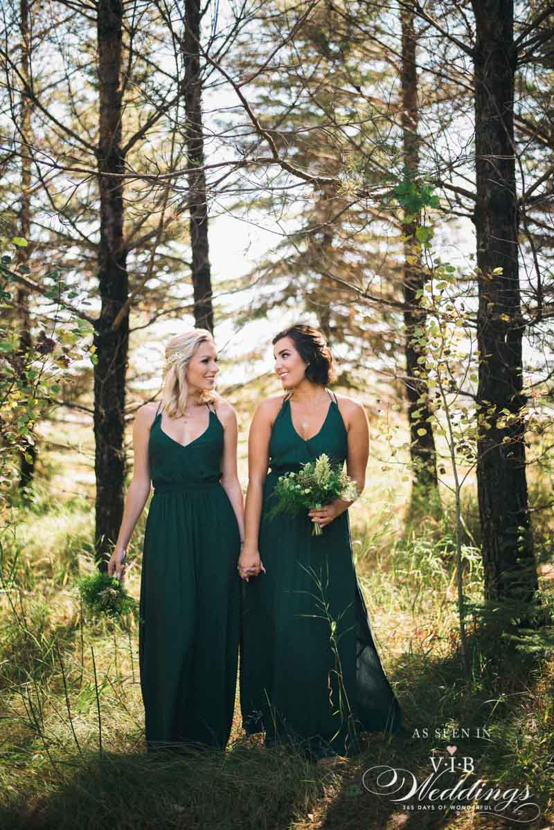 Emerald Bridesmaid dresses by HUSH Collection